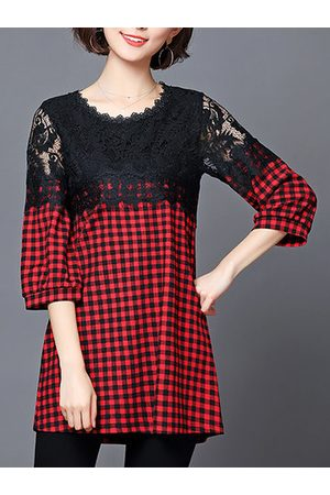Newchic Women Shirts - Casual Plaid Patchwork Lace 3/4 Sleeve Shirt