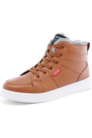 Newchic Men Leather Plush Lining Lace Up Warm Casual Shoes