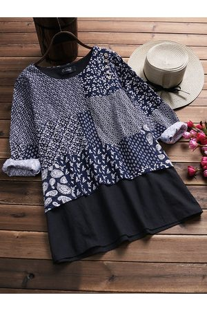 Newchic Vintage Printed Patchwork Fake Two-Piece Blouse