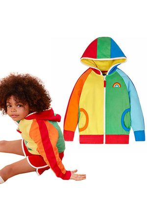 Newchic Girls Jackets - Rainbow Girls Spring Hooded Jackets