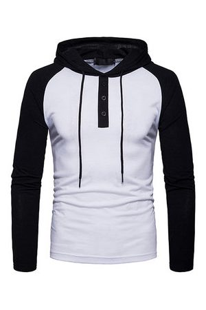 Newchic Men T-shirts - Stitching Color Casual Hooded T shirt
