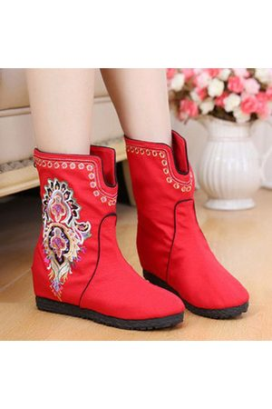 Newchic Women Boots - Chinese Style Flower Cloth Embroidered Boots For Women