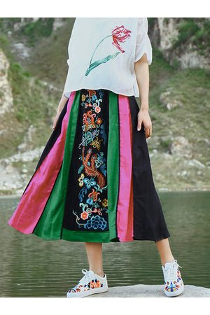 Newchic Ethnic Embroidery Patchwork Women Skirts