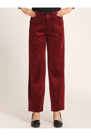 Newchic Women Capris - Casual Solid Color Button Fly Women Corduroy Pants