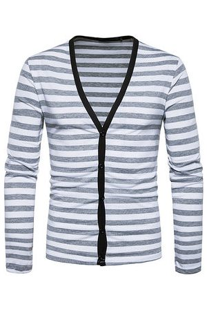 Newchic Striped Casual T shirt Single Breasted Cardigans