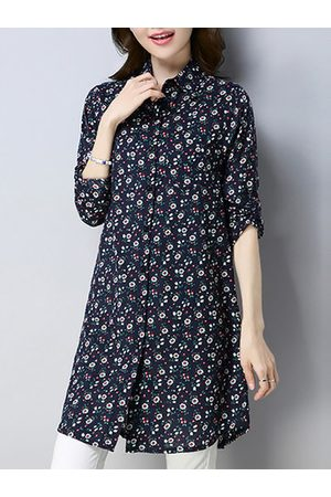 Newchic Vintage Floral Printed Long Sleeve Lapel Shirt