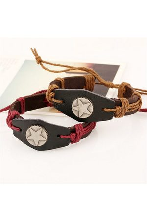Newchic Simple Punk Cattlehide Leather Braided Rope Alloy Pentagram Bracelet
