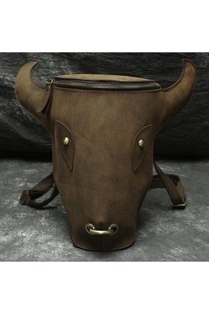 Newchic Vintage Genuine Leather Bull Head Backpack Commuter Bag