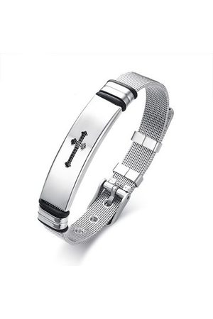 Newchic Men Bracelets & Bangles - Cross Stainless Steel Bangle Bracelet