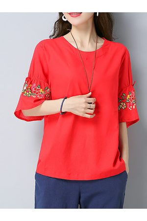 Newchic Women Shirts - Casual Embroidery Half Trumpet Sleeve O-neck Shirt