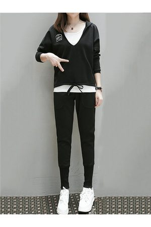 Newchic Women Pants - Sport Hooded Three-piece Outfits