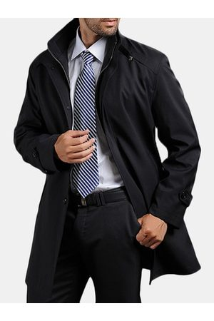 Newchic Men Trench Coats - Mens Removable Liner Trench Coat Mid-long Casual Coat