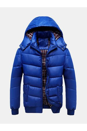 Newchic Winter Outdoor Thicken Warm Coat Rib Cuff Solid Color Detachable Hood Jacket for Men