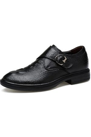 Newchic Men Formal Shoes - Men Large Size Cow Leather Hook Loop Business Shoes