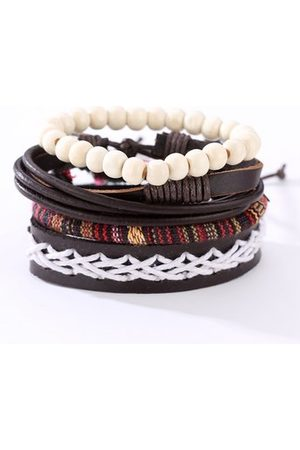 Newchic Men's Multilayer Leather Bracelet