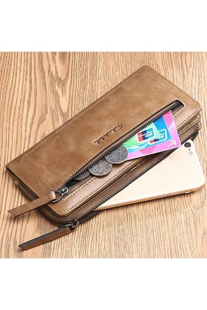 Newchic FALANMULE Genuine Leather Zipper Long Wallets Card Holder