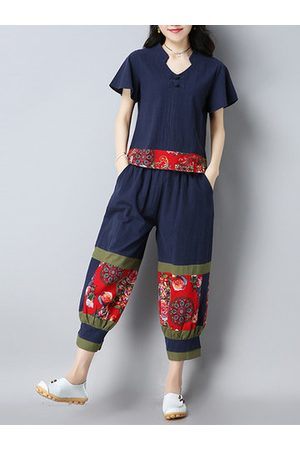 Newchic Floral Patchwork Short Sleeve T-shirt With Pants Women Suit