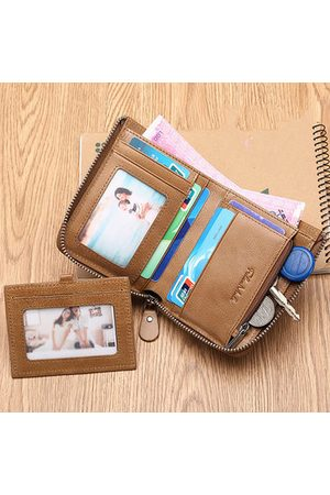 Newchic Men Wallets - FALANMULE Vintage Short Wallets Genuine Leather Card Holder