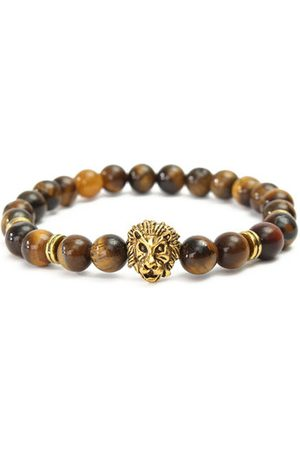 Newchic Vintage Fashion Men Bracelet Yellow Tiger Eye Gold Lion Head Beaded Yogo Stretch Bracelet