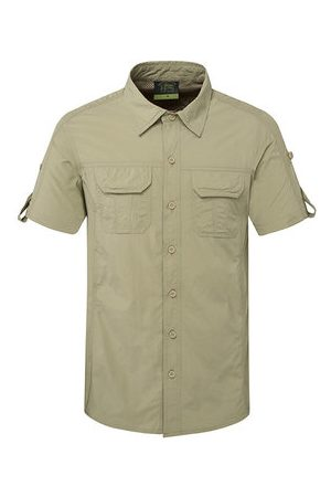 Newchic Outdoor Sport Thin Summer Breathable Quickly Dry Short Sleeve Cargo Dress Shirts for Men