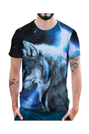 Newchic 3D Star Wolf Printed Casual T-shirts