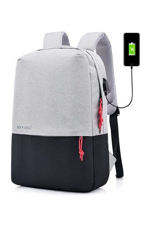 Newchic Men Laptop Bags - Polyester USB Charging Casual 16 Inches Laptop Bag Backpack