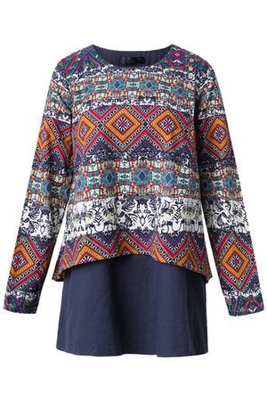 Newchic Ethnic Printed Two Layers T-shirts