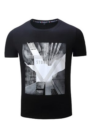 Newchic 100%Cotton City Building Printed T Shirt