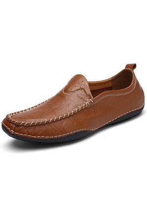 Newchic Men Soft Breathable Doug Shoes Flat Slip On Casual Leather Loafers
