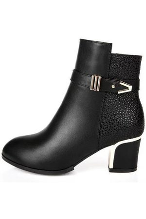 Newchic Square Heels Metal Buckle Boots For Women