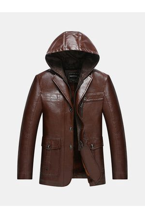 Newchic Detachable Hooded Faux Leather Jacket