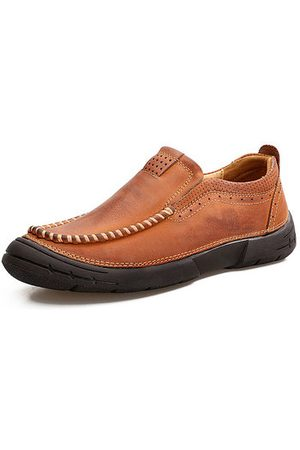 Newchic Men Cow Leather Wear-resistant Sole Casual Shoes