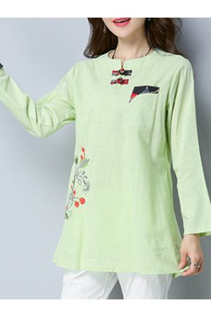 Newchic Chinese Button Printed Shirt
