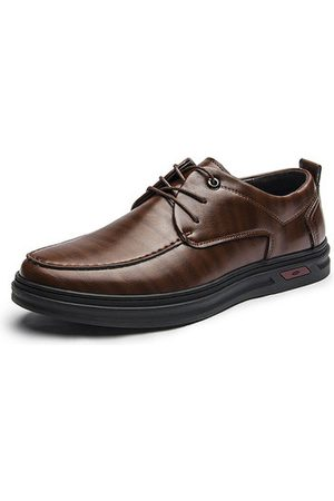 Newchic Men Casual Shoes - Men Leather Slip Resistant Lace Up Casual Shoes