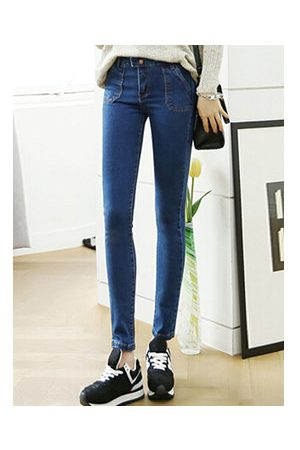 Newchic Casual Solid Pockets Button Pencil Denim Pants For Women