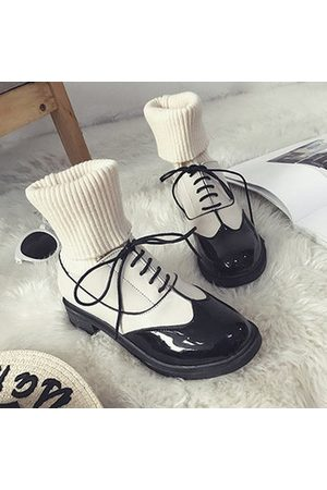 Newchic Girls Casual Shoes - Black And White Warm Casual Boots