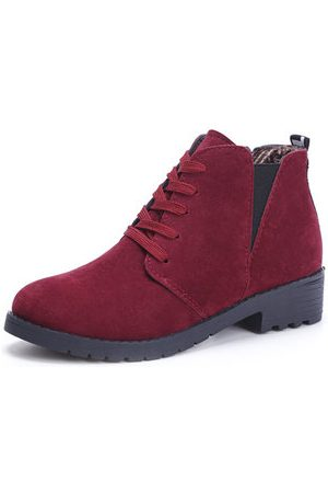 Newchic Women Lace-up Boots - Suede Lace Up Mid Heel Short Boots