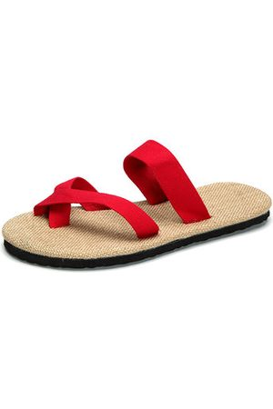 Newchic Big Size Flip Flops Pure Color Flax Casual Beach Sandals