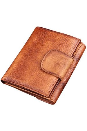 Newchic Vintage Genuine Leather Manual Short Coin Bag Trifold Wallet