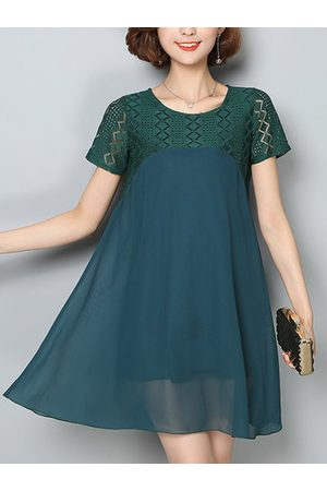 Newchic Casual Loose Lace Splicing Short Sleeves Chiffon Dresses For Women