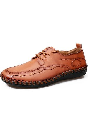 Newchic Men Casual Shoes - Men Soft Cow Leather Hand Stitching Lace Up Casual Shoes