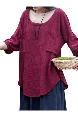 Newchic Pure Color 3/4 Sleeve Vintage T-shirts