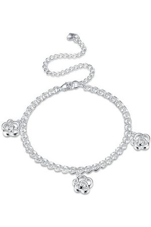 Newchic YUEYIN Sweet Anklet Rose Flower Silver Anklet