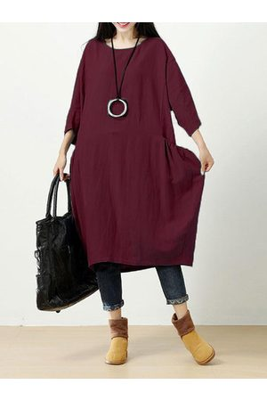 Newchic Casual Solid 3/4 Sleeve O-Neck Dress