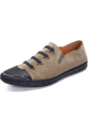 Newchic Men Cow Leather Anti-collision Elastic Panels Casual Shoes