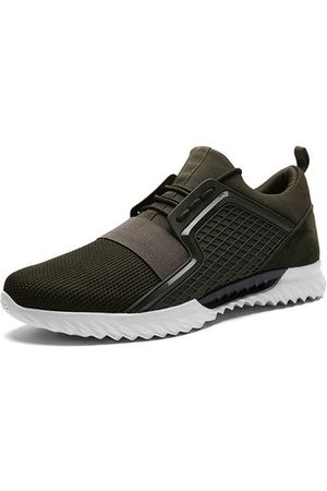 Newchic Men Elastic Panels Slip Resistant Lace Up Casual Sneakers