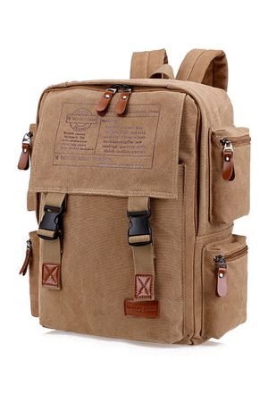 Newchic Men Large Capacity Canvas Casual Travel Backpack
