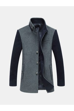 Newchic Men Trench Coats - Casual Patchwork Wool Trench Coat