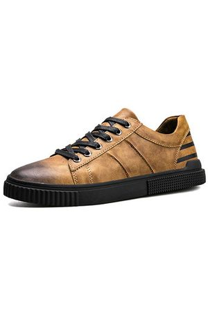 Newchic Men Leather Retro Color Lace Up Casual Shoes