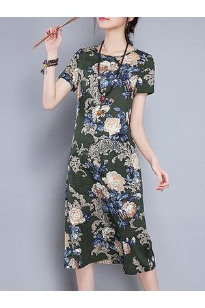 Newchic Vintage Floral Printed O Neck Short Sleeves Dresses For Women